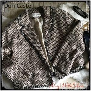 DONCASTER Check Tweed Silk Fringe Jacket